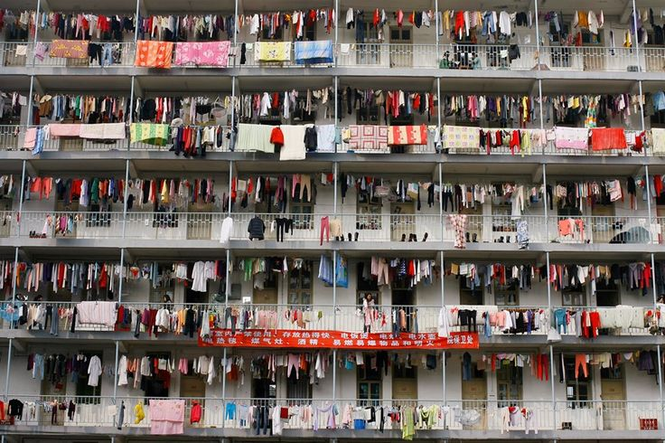 Laundry hangs outside student housing at a university in Wuhan, Hubei province.