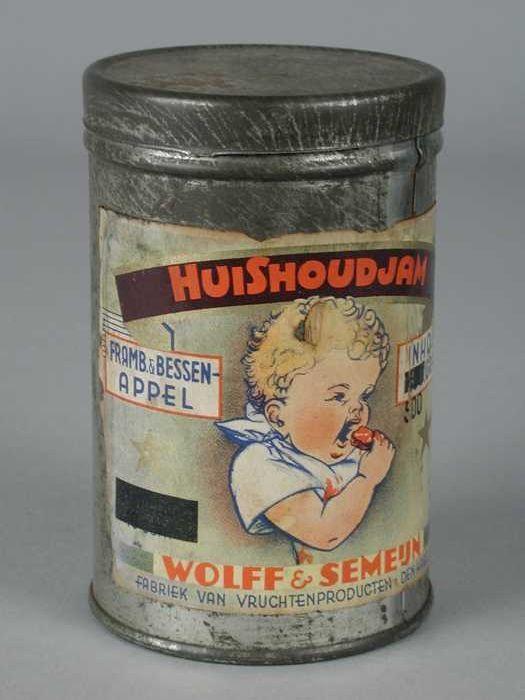 """Rond blik met los deksel, """"Wolff & Semeijn, huishoudjam"""", veelkleurig en blank metaal"""