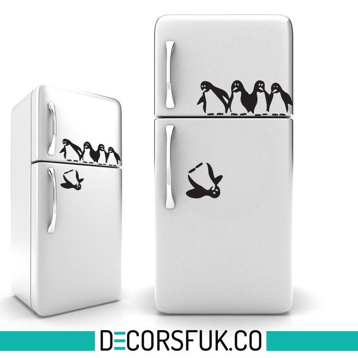 Penguins iman pegatinas / vinilo negro A4  / cocina / divertido Sticker home decor,