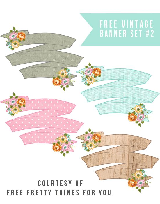 Pretty Floral Printable Banners Set #2 @Free Pretty Things For You
