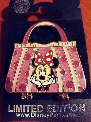 2008 DISNEY MINNIE MOUSE PINK PURSE,SPOTLIGHT PIN,COLLECTOR,LIMITED 1500 *RARE*