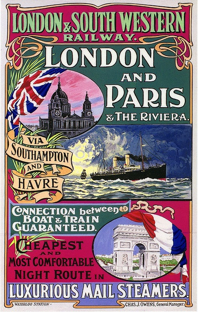 London and Paris Poster, Edwardian Period by Dr John2005, via Flickr
