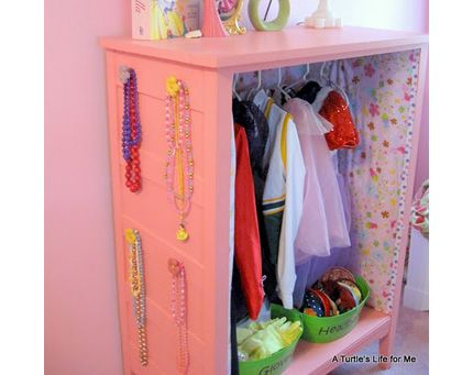I have a cabinet ready to paint to make one of these, but I am LOVING the papered inside. Might need to go hunt down some contact paper and cute nobs.: Girls, Idea, Dresses Up Clothing, Old Dressers, Kids Spaces, Dressup, Dresses Up Stations, Dresses Up Closet, Kids Rooms