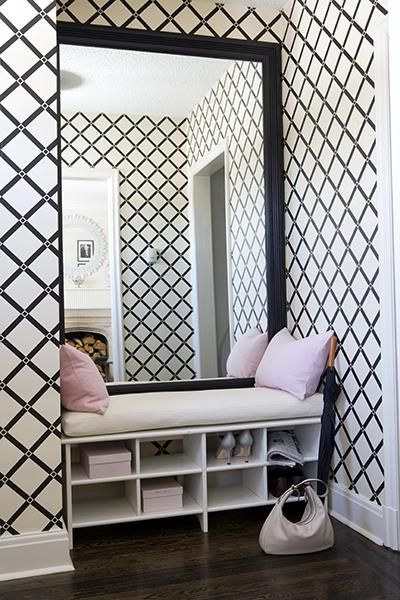 Ideas for the entrance- I like the mirror-bench combo with show storage underneath.