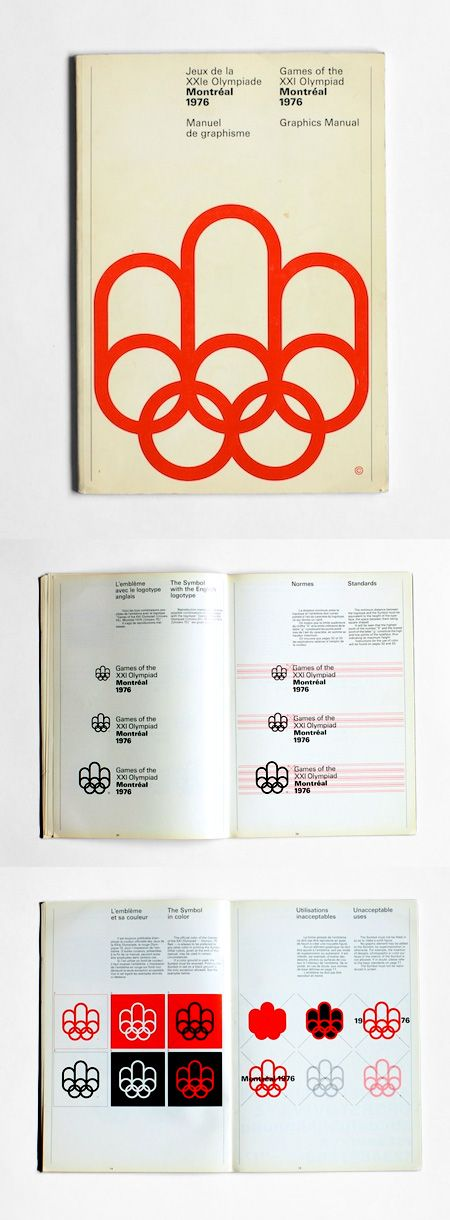 1976 Montreal Olympics Graphics Manual. Designers: Georges Huel and Pierre-Yves Pelletier