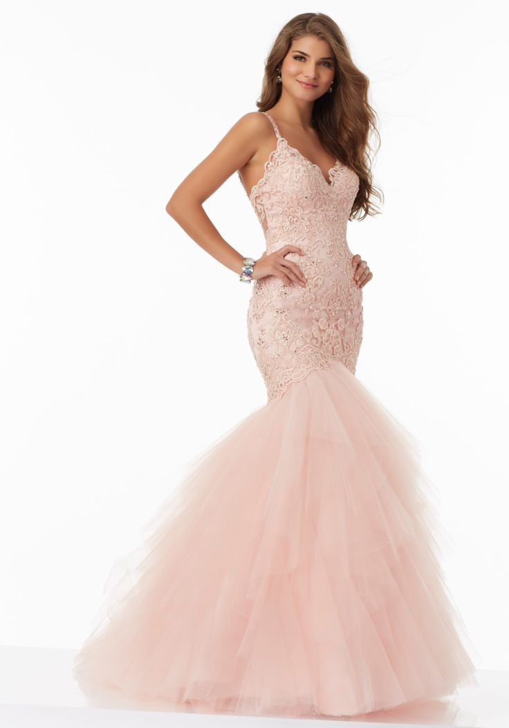 Mori Lee Prom style# 99044. Beautiful fitted tulle gown with beaded embroidery. Available at Bridal Collections Spokane, WA
