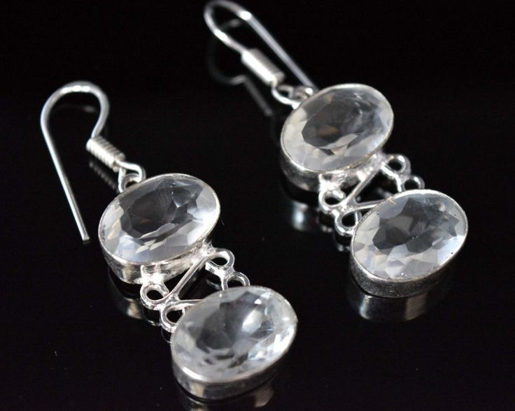Fabulous Crystal Quartz New Teens Fashion Jewelry Silver Plated Earrings F542 #HandMade #DropDangle