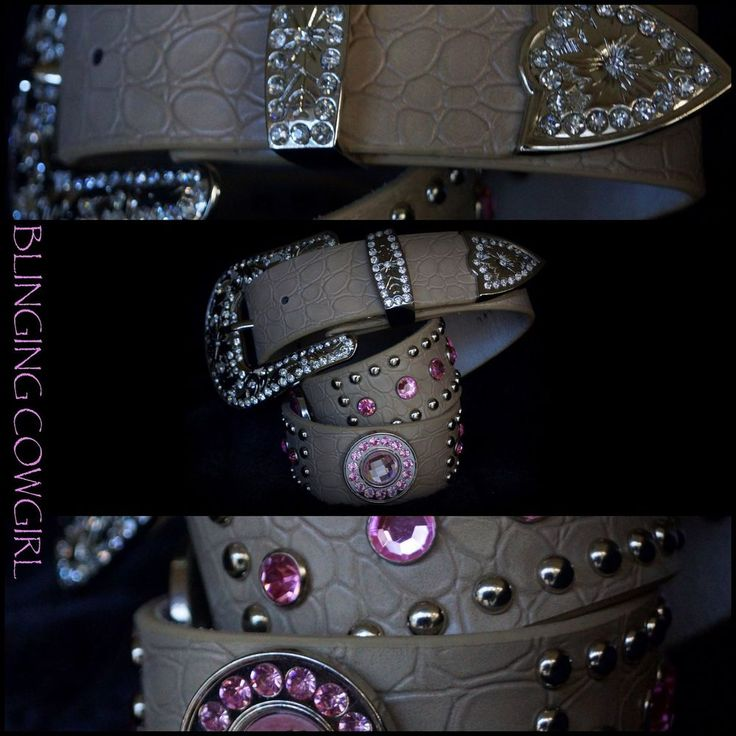 Ladies Western Leather Tan Bling Belt with Pink Conchos Silver Buckle S-M-L-XL