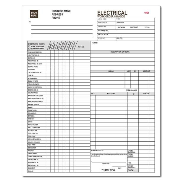 Electrician Invoice 3 Part Carbonless Copies Preprinted Personalized Invoice Template Electricity Estimate Template