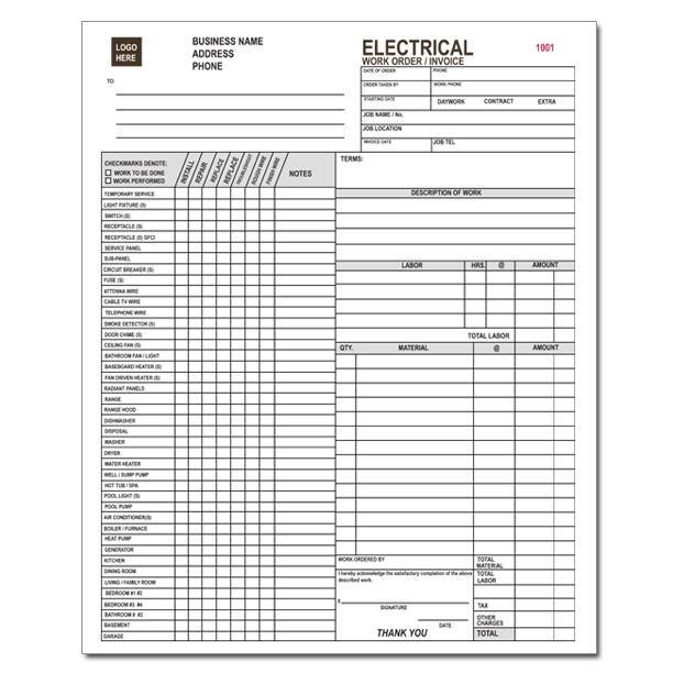 Work Order Receipt Invoice Template