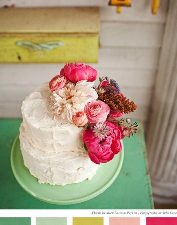 pretty: Idea, Simple Cakes, Weddings, Wedding Cakes, Flowers Cakes, Fresh Flowers, Beautiful Cakes, Cakes Flowers, Birthday Cakes
