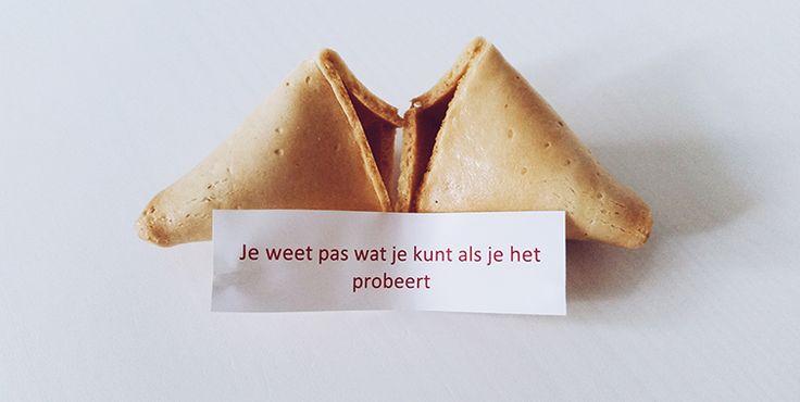 Probeer het gewoon vandaag! #gelukskoekje #quote
