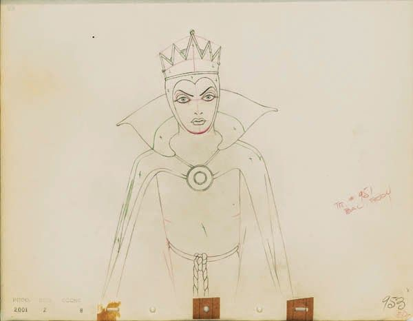"Original production drawing of the Evil Queen from ""Snow White and the Seven Dwarfs,"" 1937"