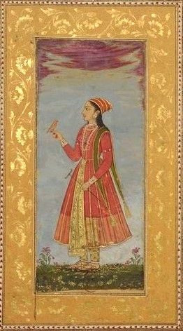 "Mughal lady with a bird and a support for meditation. Album ""Persian Drawings (miniatures from India and Persia)"". Jawahir by Mal (?), Mughal School, circa 1720-1750. She holds a bird in her right hand and a crutch for meditation in her left, distinctive ascetics' and celibacy attribute."