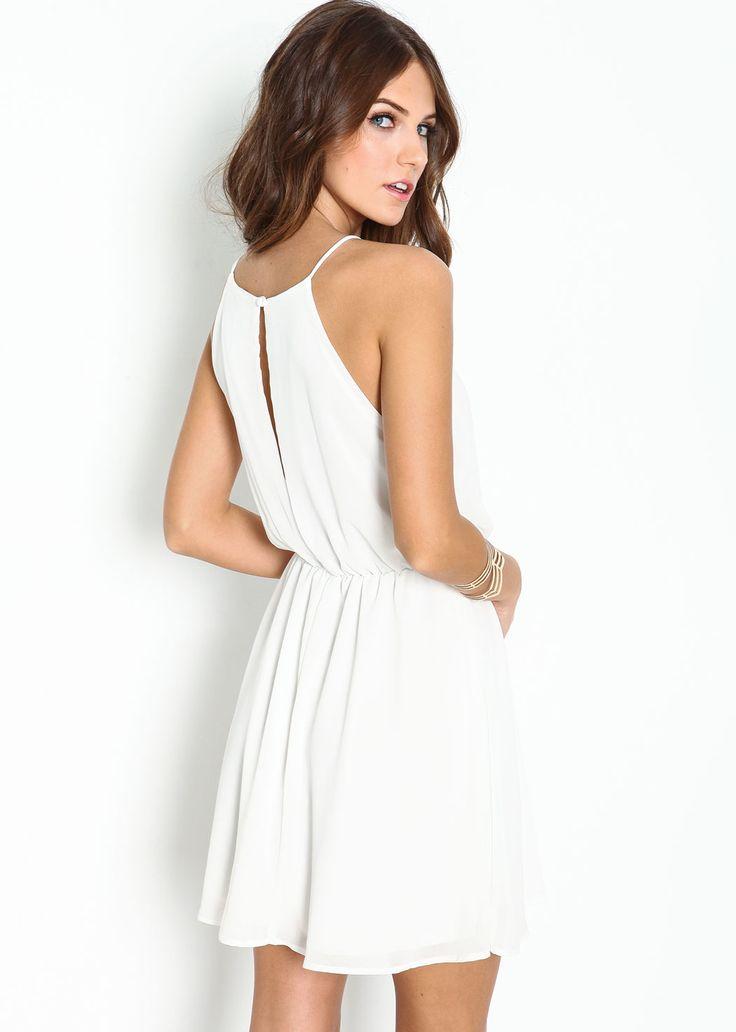 White Off the Shoulder Back Split Dress 15.99