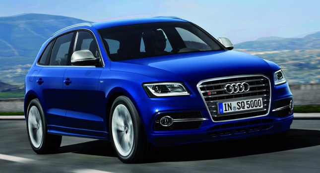 New Audi SQ5 TDI with 308HP is the First Ever S Model with a Diesel Engine - [The new top model of its recently revised Q5 model series sports a 3.0-liter twin-turbocharged V6 diesel delivering a frisky 308hp (313PS) and 650 Nm (479 lb-ft) of torque between 1,450 and 2,800 rpm.    An eight-speed tiptronic transmission and quattro permanent all-wheel drive with torque vectoring transfer the power to the road.]