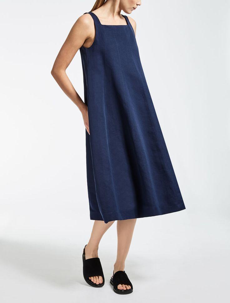 Max Mara RUBENS azul noche: Vestido de lino y algodón.
