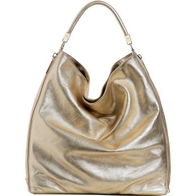 Elisabetta Franchi  Collezioni Primavera-Estate 2012  Borsa in pelle dorata metallizzata.  Prezzo: € 369,00