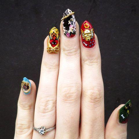 nail art charm jewelry 3d skull gold  nail charms nail
