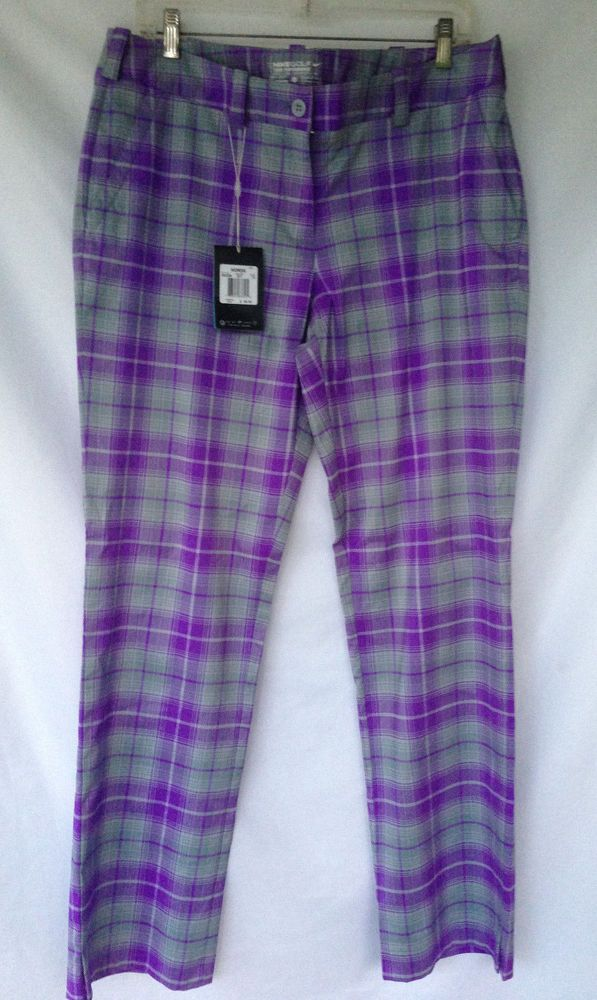 Nike dri Fit Women's Golf Pants Sz 12 Tartan Plaid Purple Gray ...
