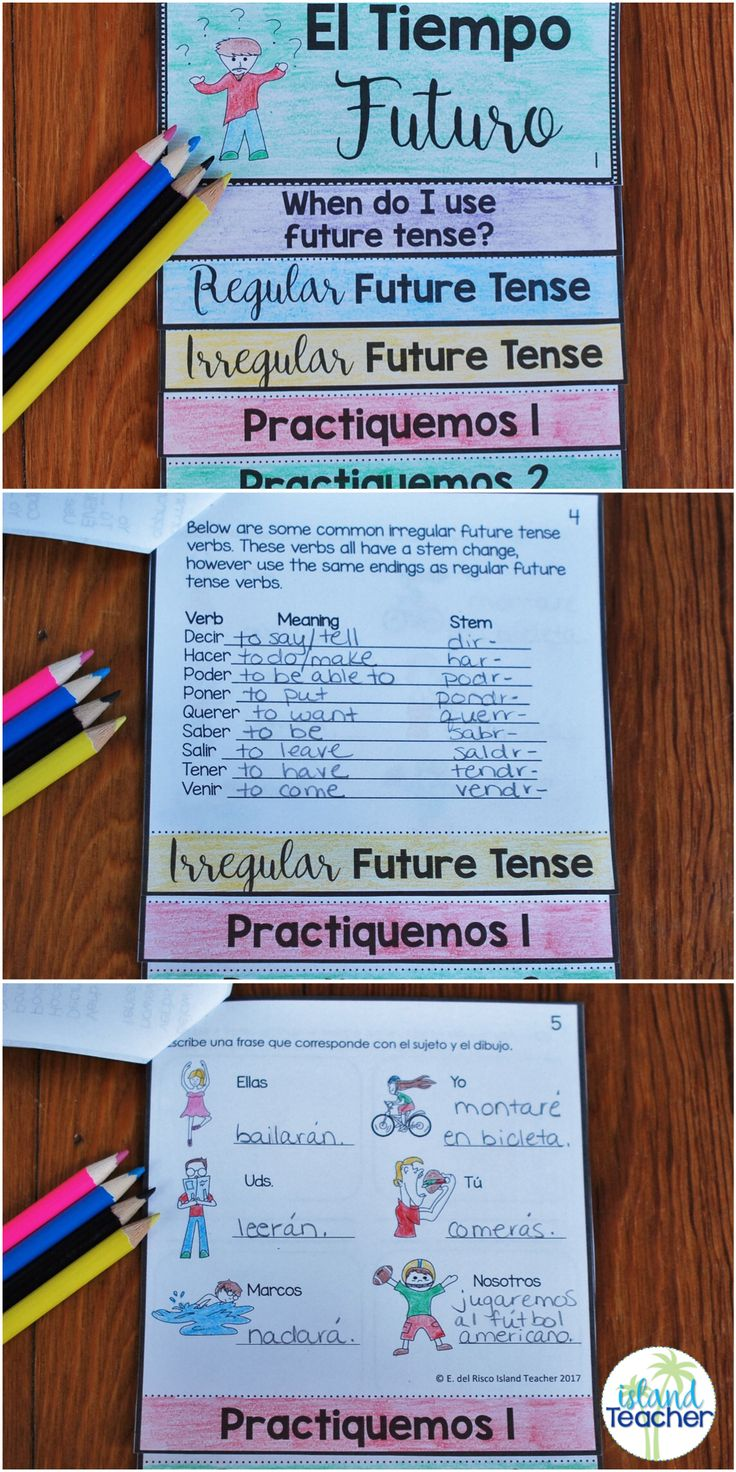 Spanish Future Tense Interactive Flip Book. Includes notes and practice pages as well as tips for assembly and use.