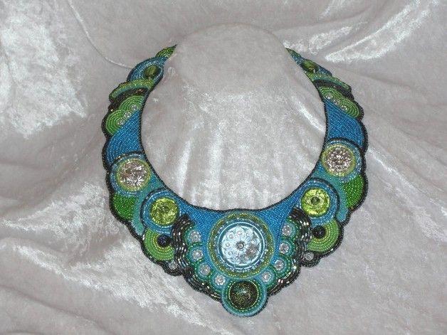 """Colliers - Edles Glasperlencollier """"WaterLily"""" - ein Designerstück von Recycling-Art bei DaWanda"""
