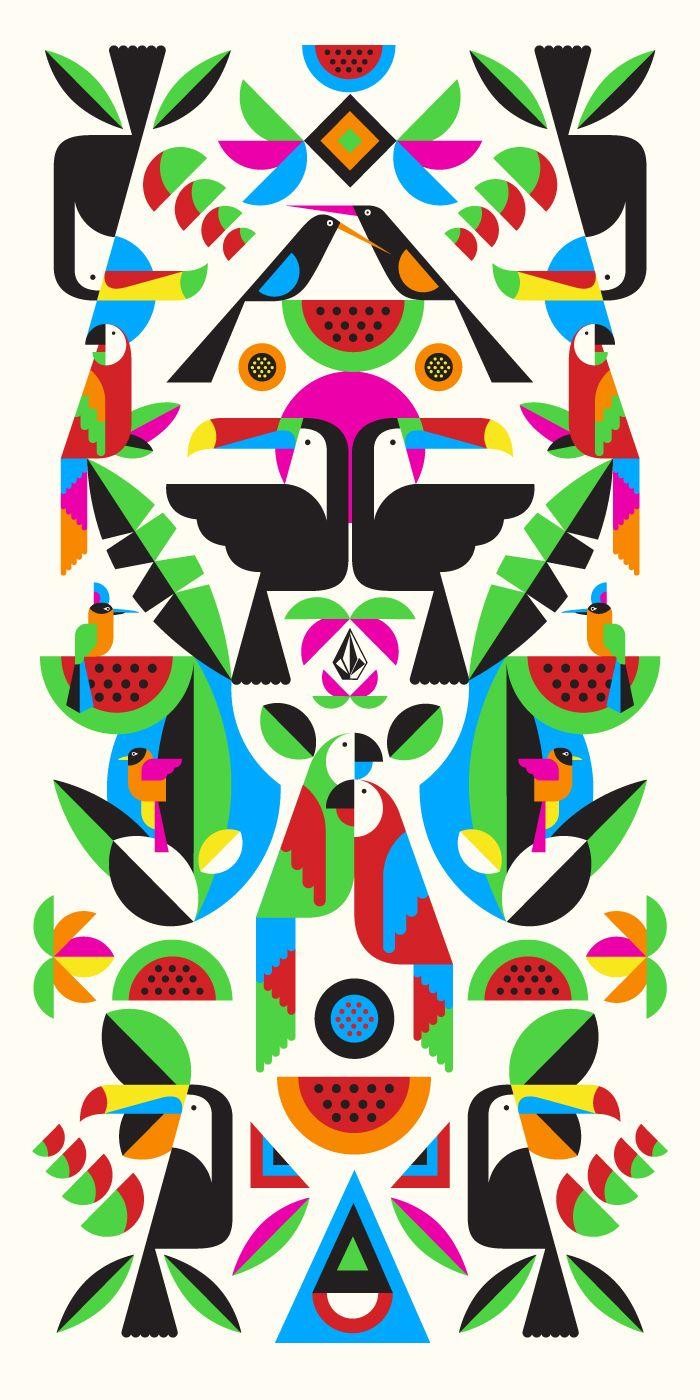 Diseño de una toalla playera por Malika Favre, en favor de Volcom.