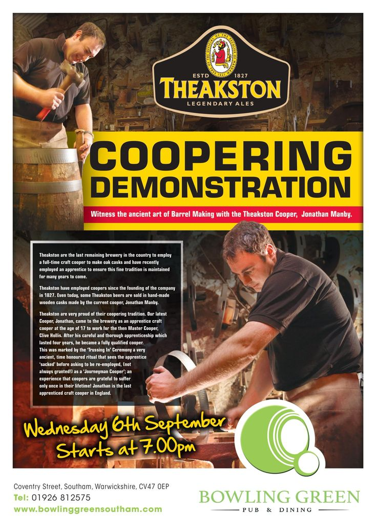 """Bowling Green on Twitter: """"#Join #us at 7pm on Wednesday 6th September and witness the #ancient #art of #Barrel #Making with the Theakston #Cooper, Jonathan Manby https://t.co/BtNTSiZErl"""""""