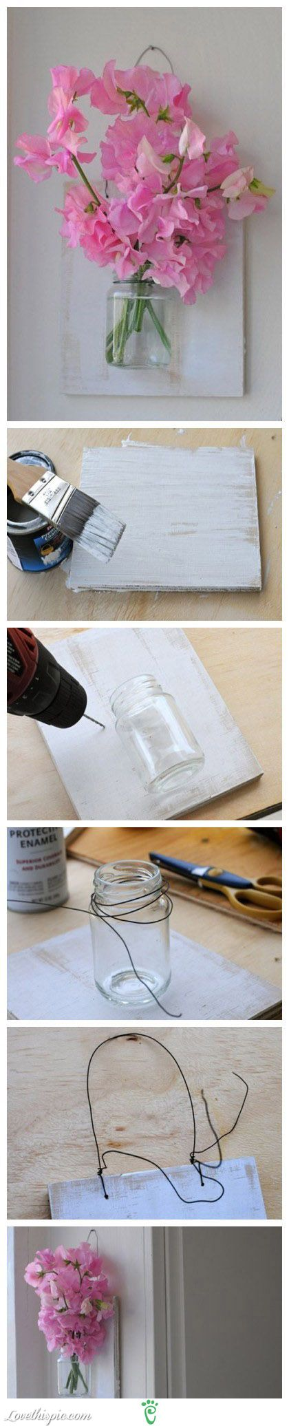 DIY Don't be a Wall Flower but MAKE ONE! A Lovely Wall Vase on a piece of Old Wood or a piece of (new) Canvas (with a half PET Bottle)! So Easy and if you like....... you could make a background first...with paint or decoupage :-D