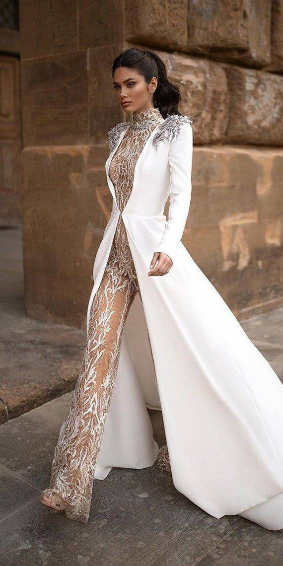 Two Pieces Wedding Jumpsuit Jumpsuit With Jacket Wedding Jumpsuit Bridal Jumpsuit Lace Jumpsuit In 2020 Luxury Wedding Dress Cocktail Dress Wedding Bridal Jumpsuit