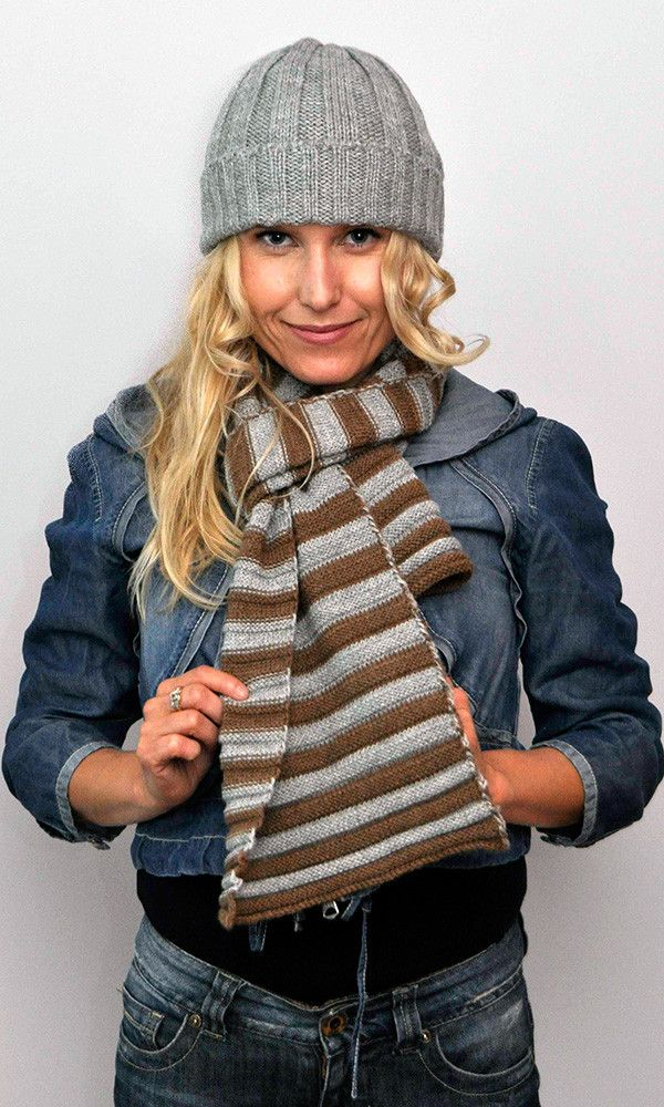Stripe Scarf Grey/Brown – Great scarf for him. Great scarf for her. Natural colour combinations in a luxuriously soft horizontal rib.