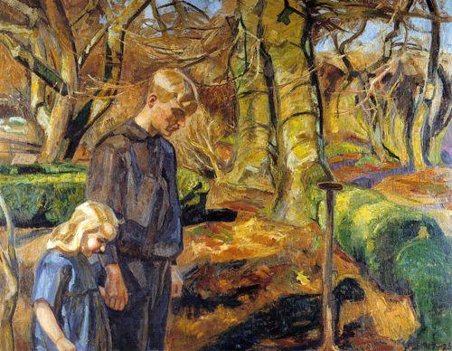 Fritz Syberg: to børn begraver en fugl 1925