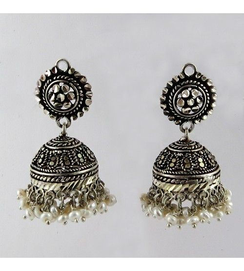 Fashion Style !! Marcasite Oxidized 925 Sterling Silver Earring, Weight: 23.4 g, Stone - Pearl, Black CZ, Size - 5.0 x 3.0 cm, Wholesale Orders Acceptable, All Pieces have 925 Stamp