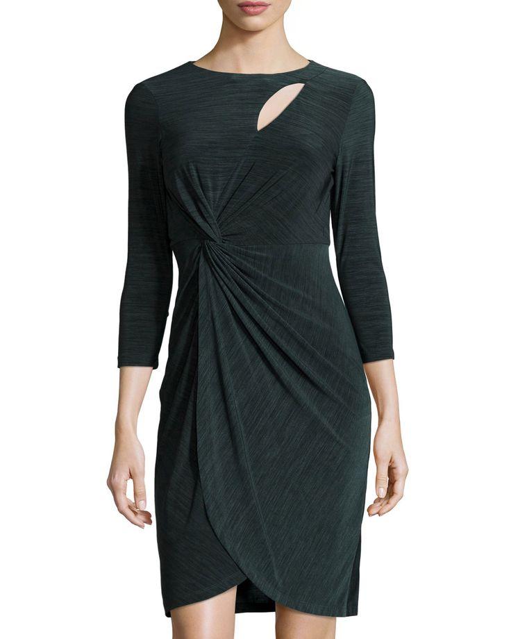 Catherine Catherine Malandrino Felicia Drape Dress, Raven Green, Women's, Size: 2, Raven Gree