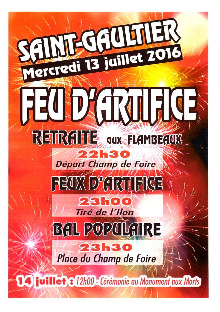 Feu d'artifice Saint-Gaultier Ilon et Champ de Foire Mercredi 13 Juillet 2016, 22h30 > Jeudi 14 Juillet 2016, 1h00