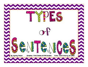 TPT - free download - This download has great posters explaining the four types of sentences and materials for students to make flip books.  2nd - 6th ***
