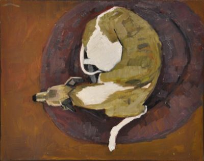 Rodgerson,Jenny Curled up Oil on Board - Oil on Panel Image Size: 30.5 x 38cm