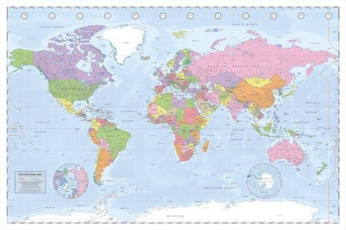 Kurk prikbord wereldkaart 60 x 90 cm.