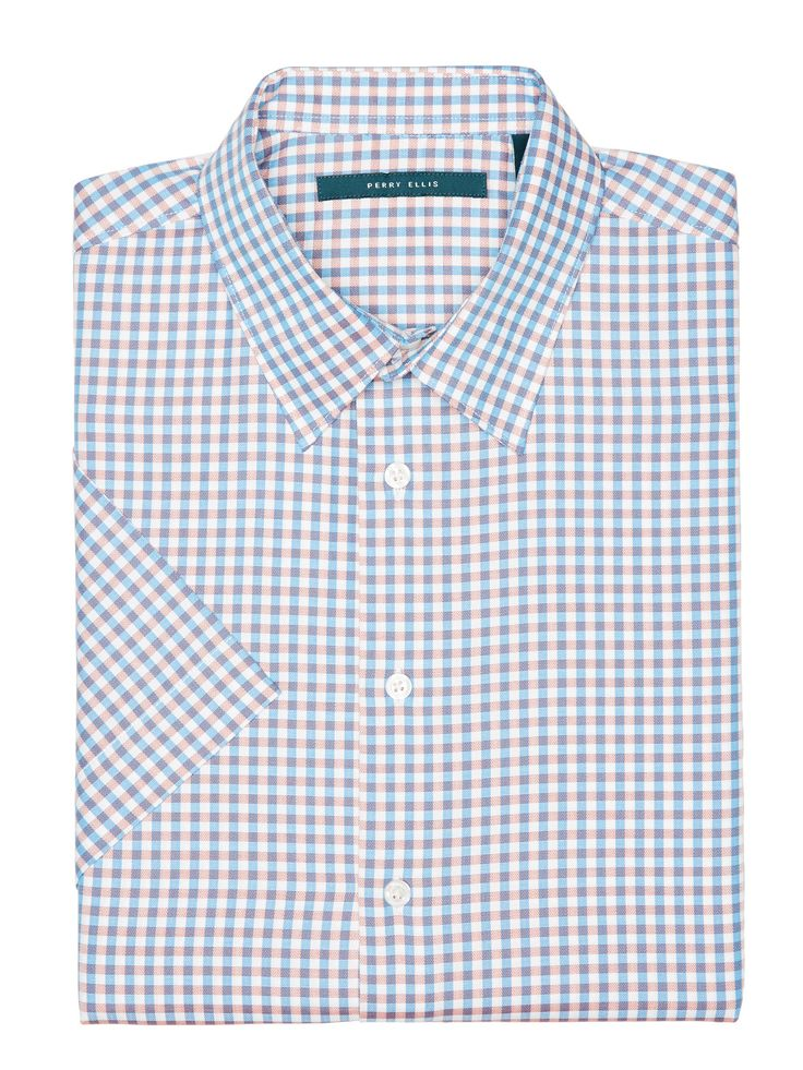 Perry Ellis Short Sleeve Check Herringbone Shirt: 100% Cotton. Regular Fit. Dobby Fabrication. Narrow… #MensShirts #MensShoes #MensUnderwear