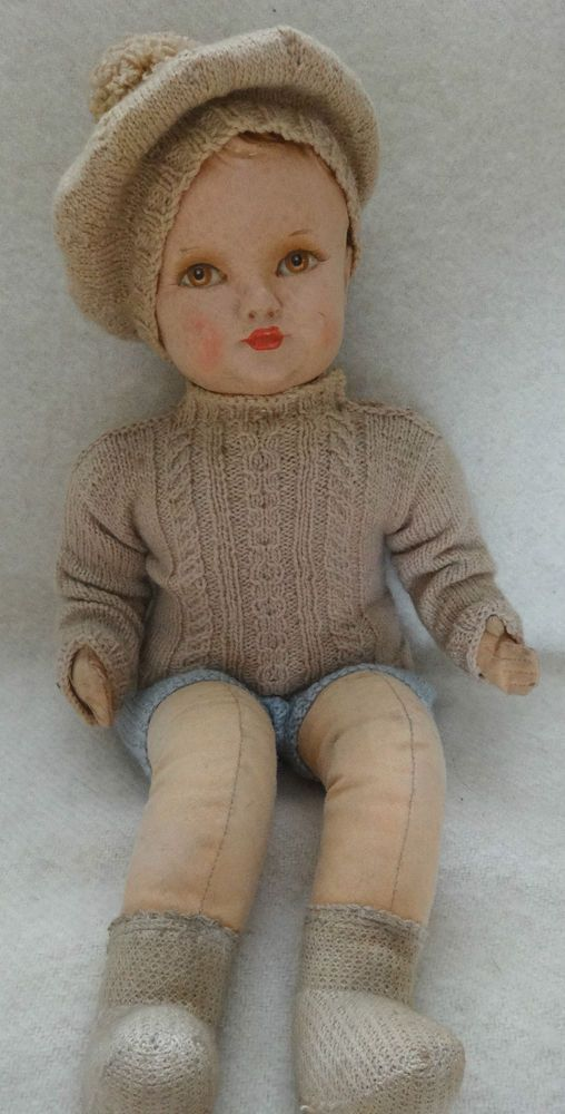 Vintage Old Dean S Rag Book Boy Doll With Lable 1940s