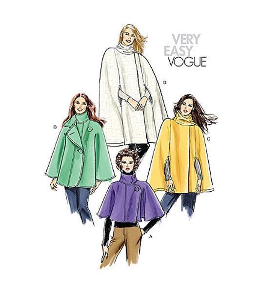 WOMEN'S CAPE PATTERN Capelet Cape with Sleeves Arm Holes Standing Collar Vogue 8162 by DesignRewindFashions - Vintage & Modern Sewing Patterns