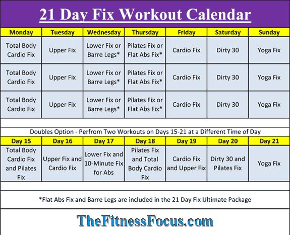 21 Day Fix Workout Schedule  Portion Control Diet Sheets