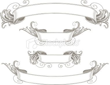 Ornate Engraved Ribbon Banners Royalty Free Stock Vector Art Illustration