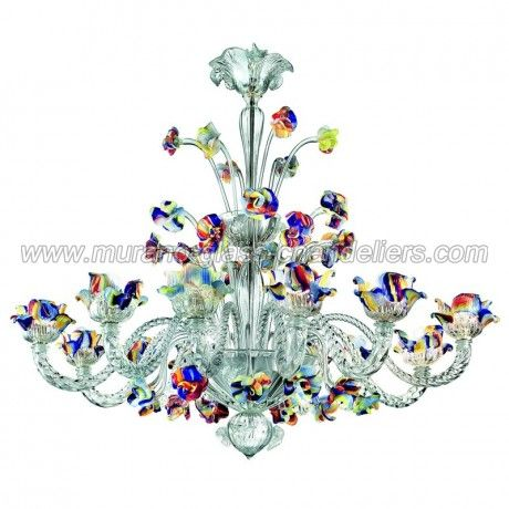 12 Lights Murano Chandelier With Crest Glass Chandeliers