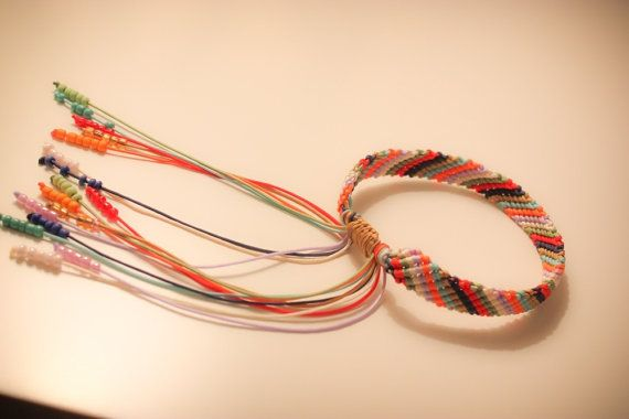 Multicolor macrame bracelet with beads by CrochetGrace on Etsy
