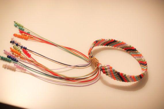 Multicolor macrame bracelet with beads by CrochetGrace on Etsy