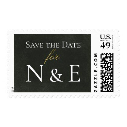 Black and Gold Monogram Wedding Postage Stamps - monogram gifts unique design style monogrammed diy cyo customize