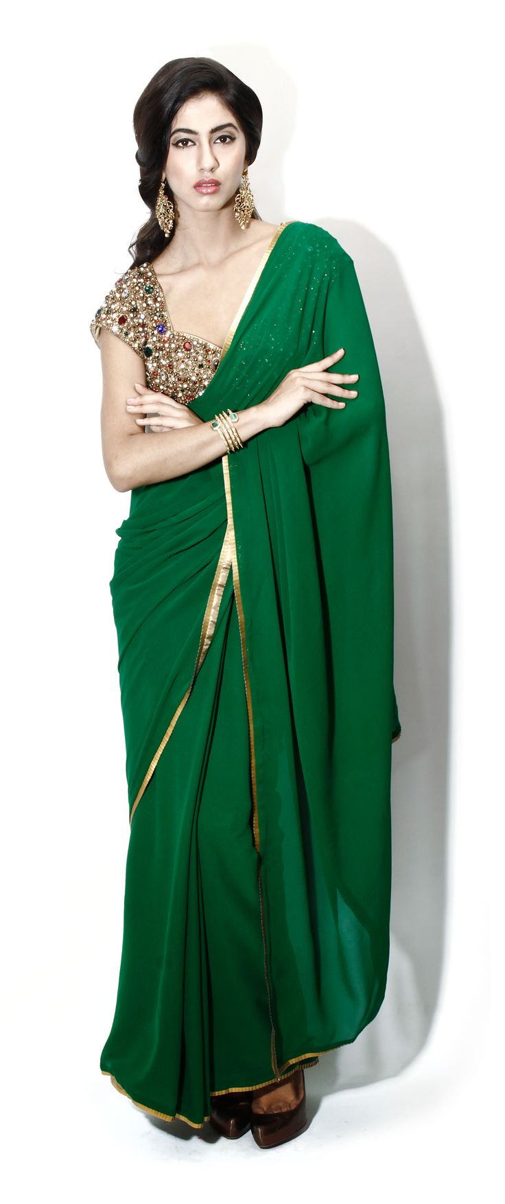 Green gota border sari by Seema Khan. #sari #shopnow #seemakhan #happyshopping