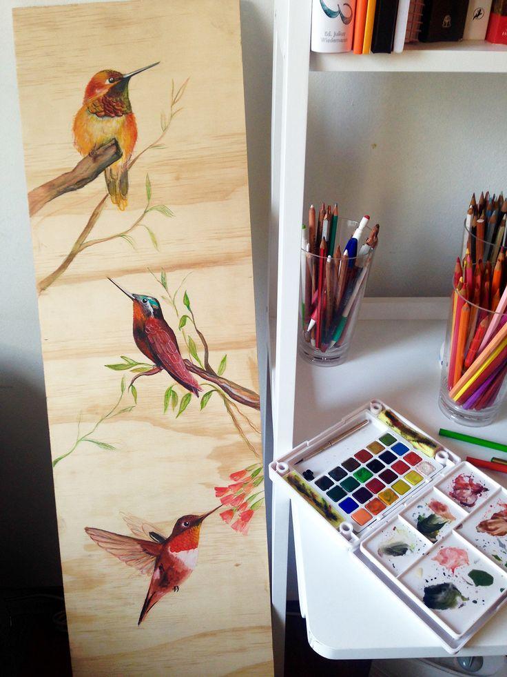 Hummingbirds on wood on Behance