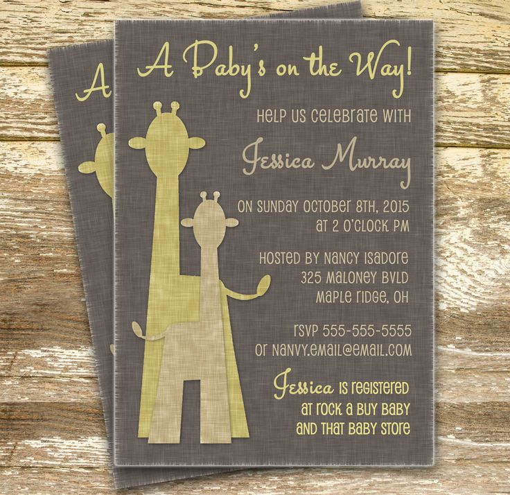 Unisex Baby Shower Invitation - Neutral Baby Shower, Giraffe Baby Shower, Yellow and Gray Baby Shower Invite, Yellow Giraffe Invitation - pinned by pin4etsy.com